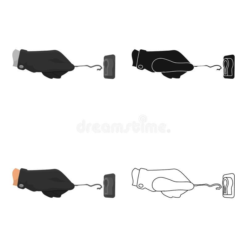 Lockpick nella mano del criminale Chiave di serratura a scatto, strumento del ladro, singola icona di crimine nelle azione di sim illustrazione di stock