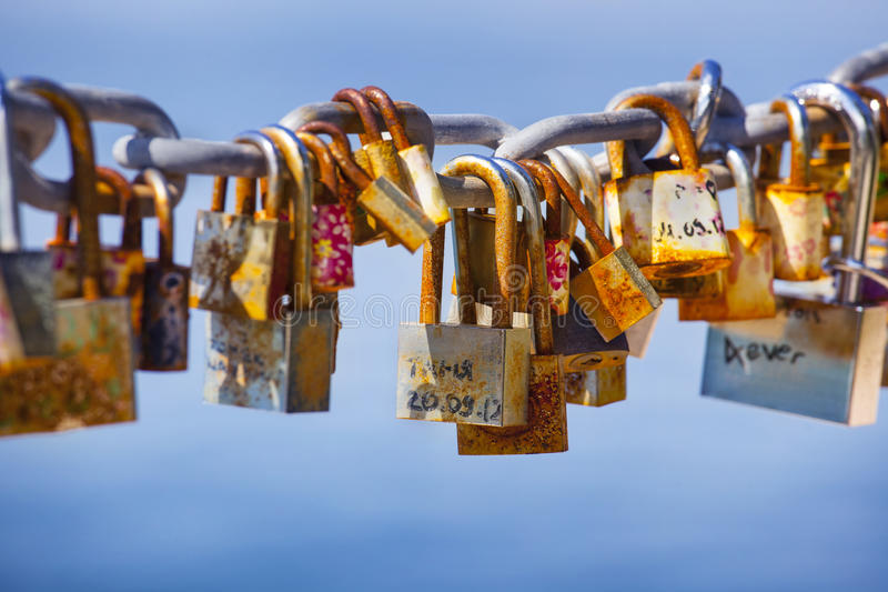 Download Locks left by lovers stock photo. Image of clouds, padlock - 30965736
