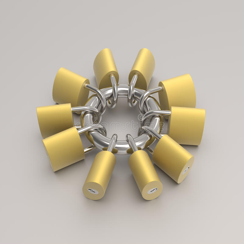 Locks are locked and connect on a same steel hoop. 3D model rendering of locks are locked and connected on a same steel hoop vector illustration