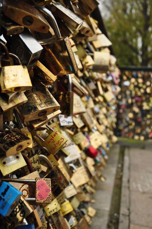 Locks of loving couples stock photography