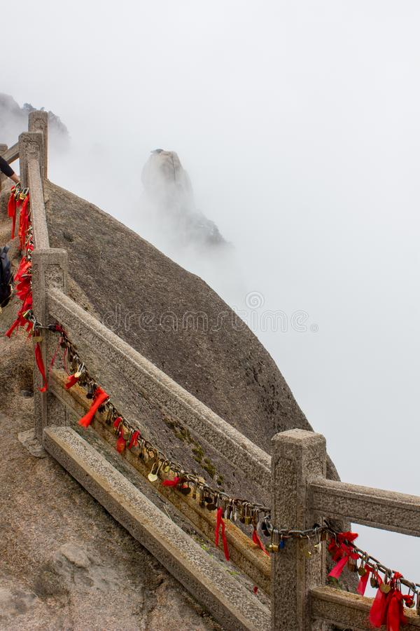 Locks and Red Ribbons on Yellow Mountain China stock image