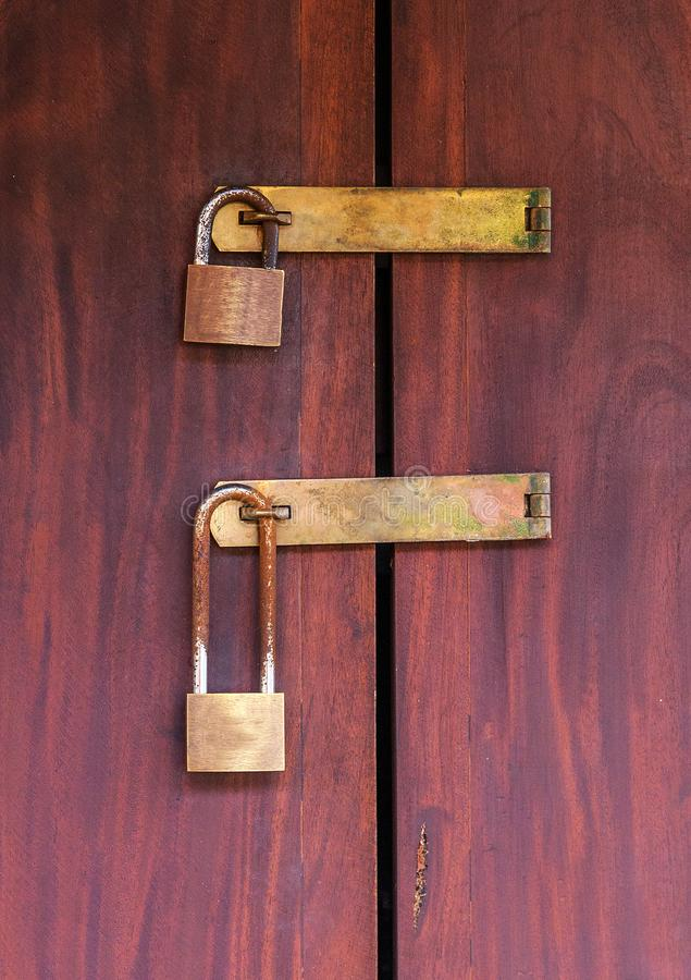 Locks vintage wood Door royalty free stock photos