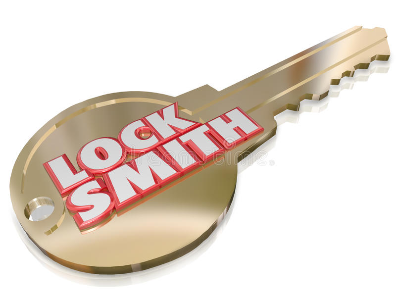 Locksmith Gold Key Word Profession Job Worker royalty free illustration