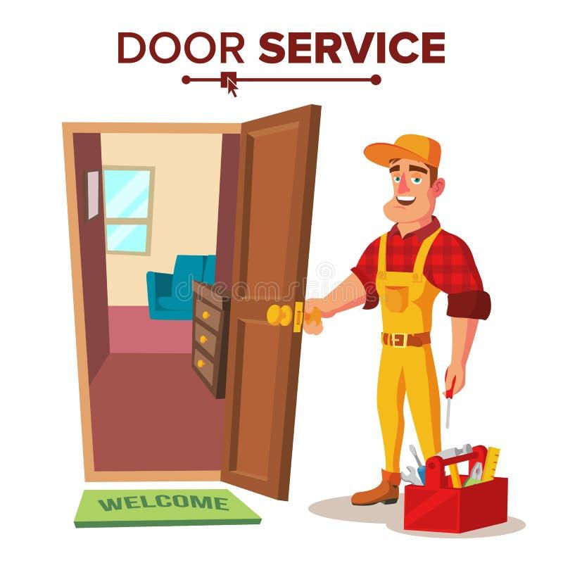 Locksmith Repairman wektor Otwiera Drzwiowej usługa Postać Z Kreskówki ilustracja ilustracji