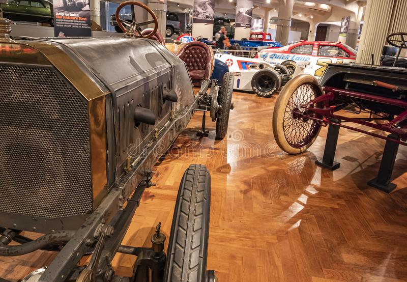 1906 Locomobile old 16 is a road racing car and the first American car that won the Vanderbilt cup in 1908 royalty free stock image