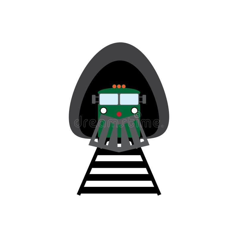 Locomotief die de tunnel verlaten Treinpictogram Meningsvoorzijde Vector illustratie vector illustratie