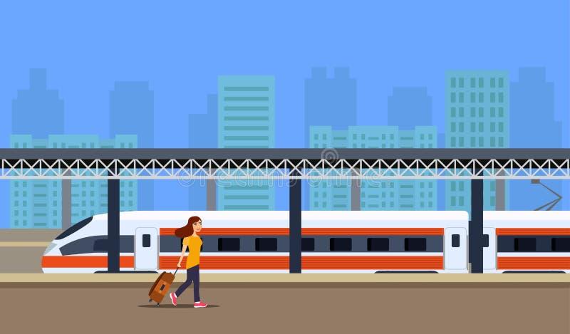 Locomotief en passagiers op platform royalty-vrije illustratie