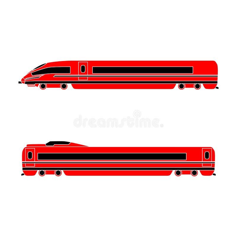 Locomotief en personenautohogesnelheidstrein op een witte achtergrond Vector vlak ontwerp stock illustratie
