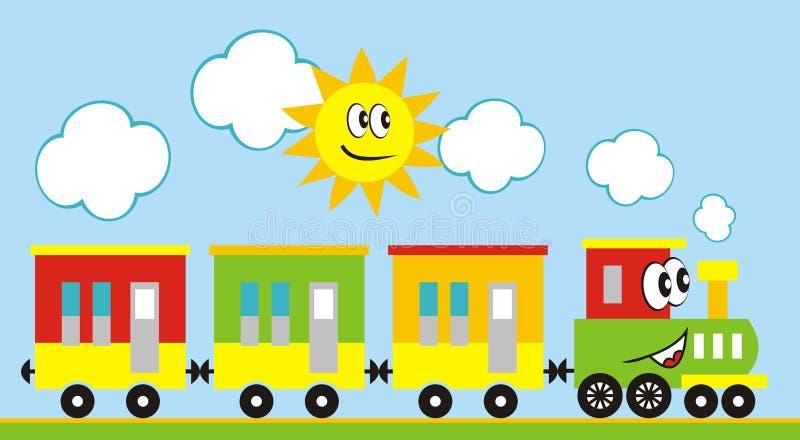 Locomotief met ogen en mond Trein en zon vector illustratie
