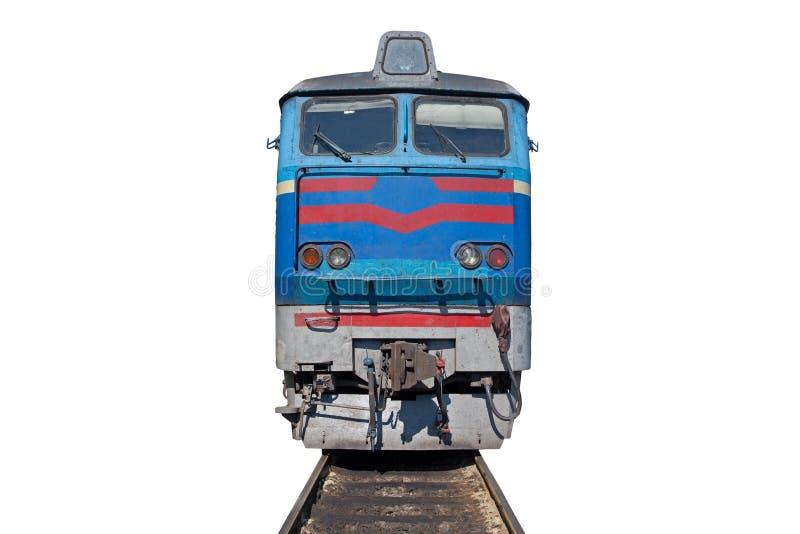 Locomotief op sporen op witte achtergrond worden geïsoleerd die stock foto