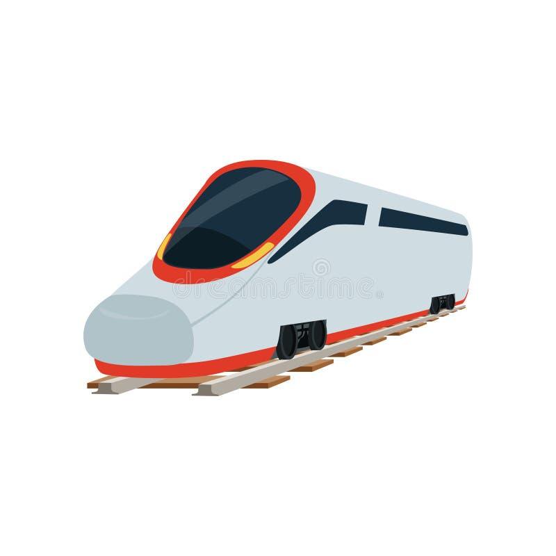 Locomotief van de de spoorwegtrein van de snelheids de moderne super gestroomlijnde hoge snelheid, de vectorillustratie van de pa vector illustratie