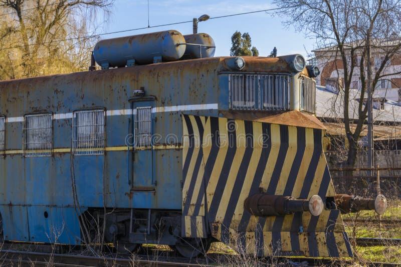 Locomotiva abandonada do trem fotografia de stock