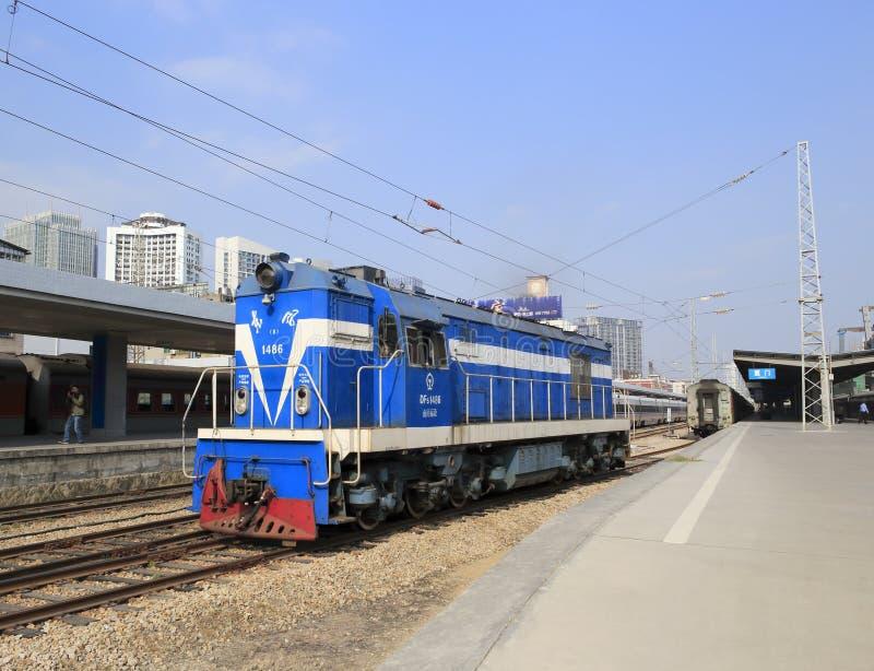 Locomotiva azul imagens de stock royalty free