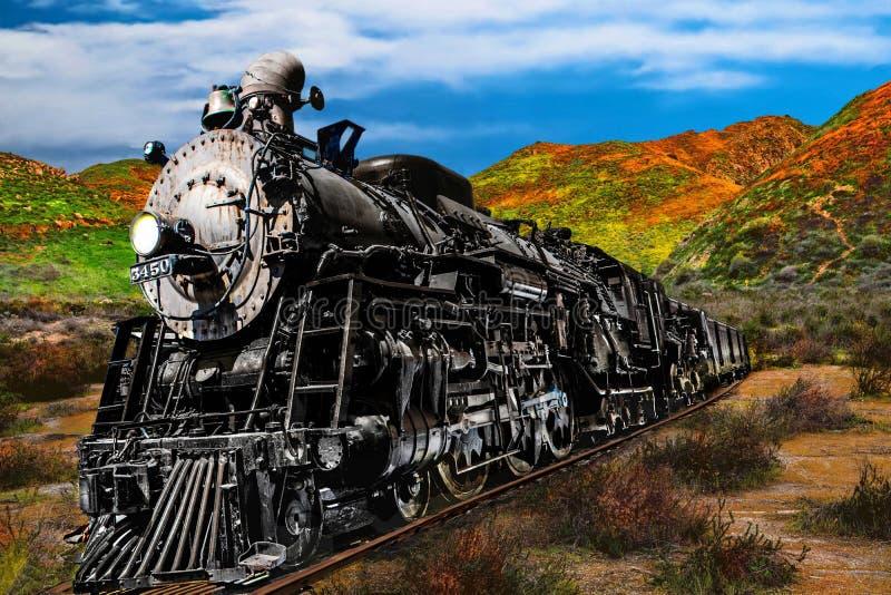 Locomotiva bruciante del motore a vapore del carbone d'annata che attraversa il fondo valle fotografie stock libere da diritti
