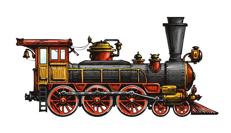 Locomotiva de vapor do vintage Trem antigo tirado, transporte Ilustração do vetor ilustração royalty free