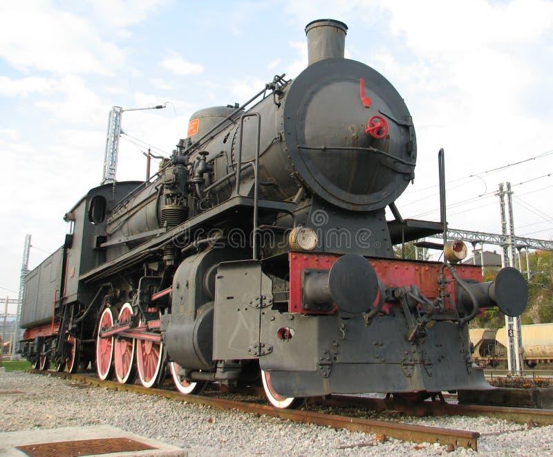 Locomotiva de vapor estacionária restaurada bem preservado fotografia de stock royalty free