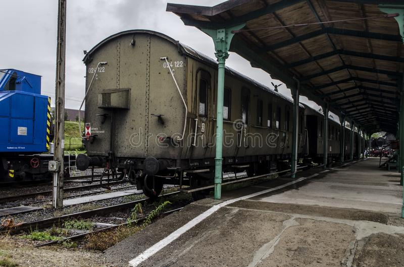 Locomotiva de vapor, estrada de ferro imagens de stock