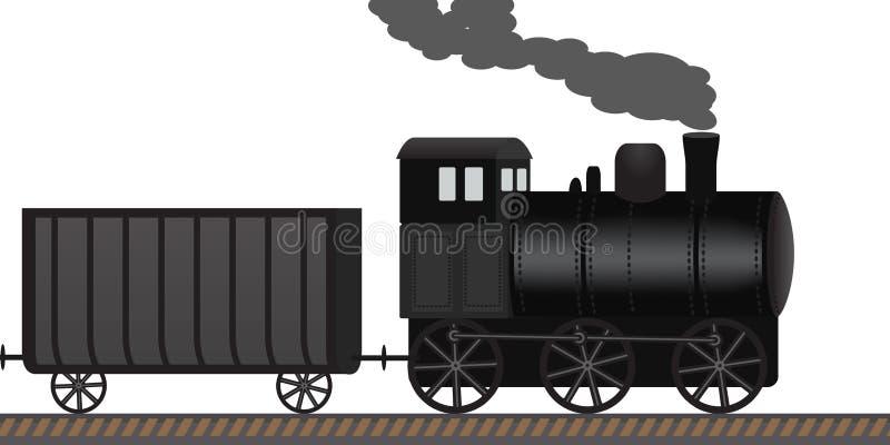A locomotiva de vapor velha arrasta vagões ao longo da estrada de ferro ilustração do vetor