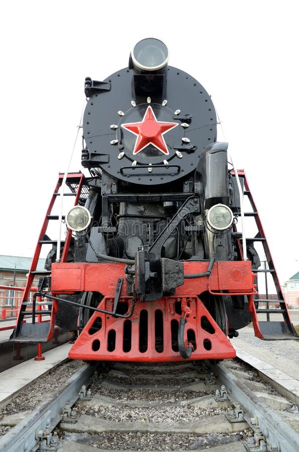 A locomotiva de vapor velha Tais locomotivas de vapor foram usadas na primeira metade do século XX, na União Soviética imagem de stock