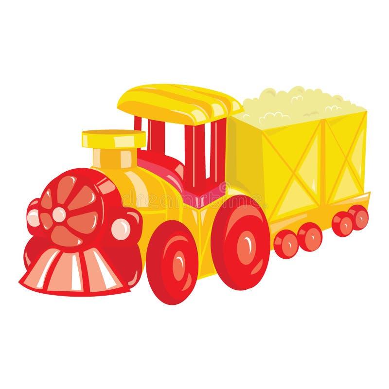 Locomotiva del fumetto su fondo bianco Un treno a vapore del giocattolo per i bambini Illustrazione variopinta di vettore per i b illustrazione di stock