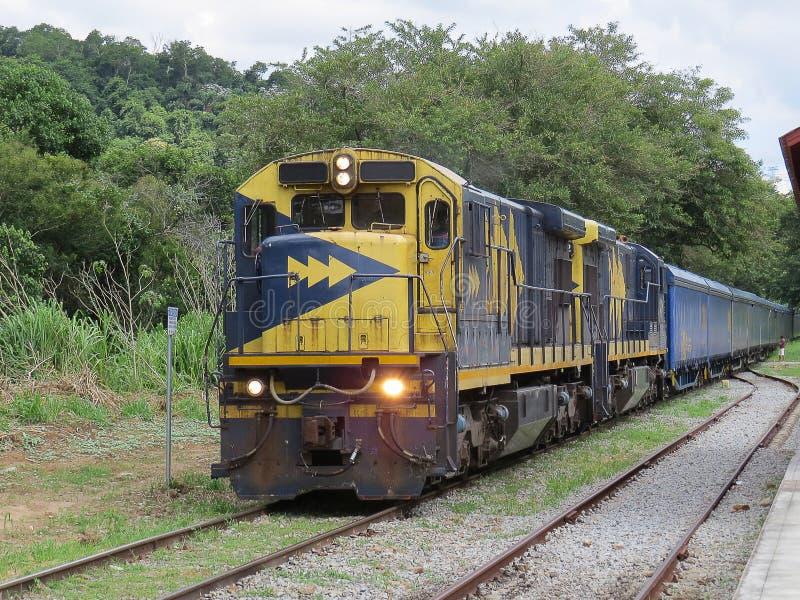 Locomotiva del treno merci, nelle piccole quiete e nella stazione abbandonata fotografia stock libera da diritti