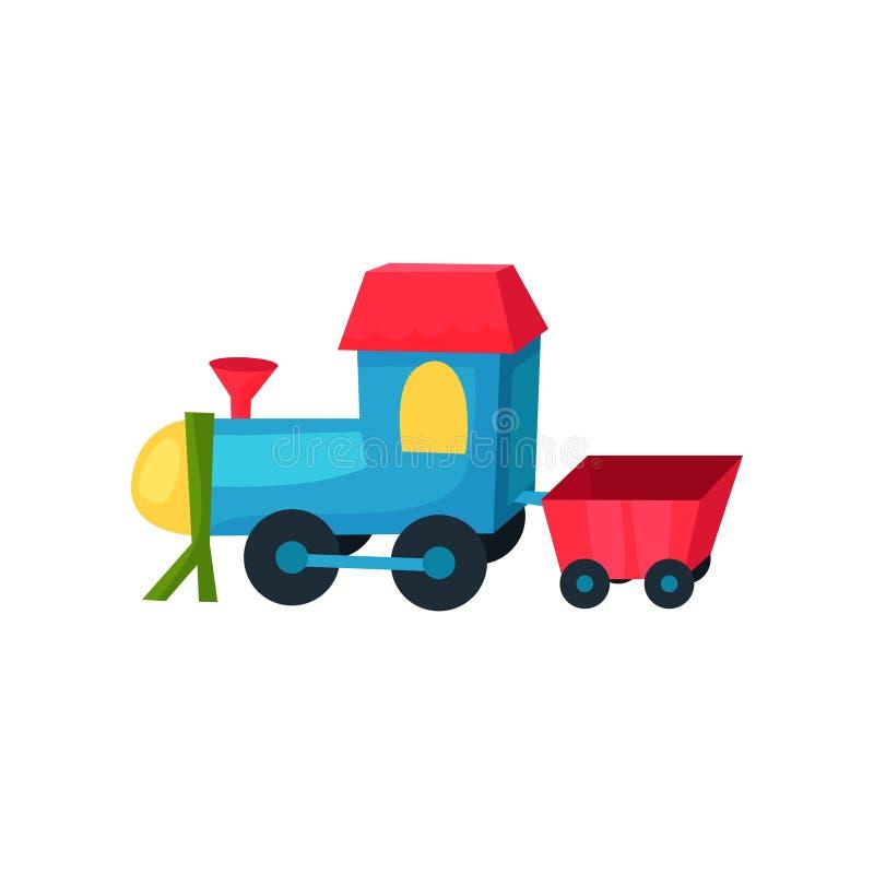 Locomotiva di plastica variopinta sulle ruote con poco vagone Treno del giocattolo dei bambini s Icona piana di vettore per il de illustrazione di stock