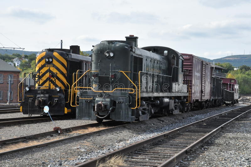 Locomotiva diesel no local histórico nacional de Steamtown em Scranton, Pensilvânia imagens de stock