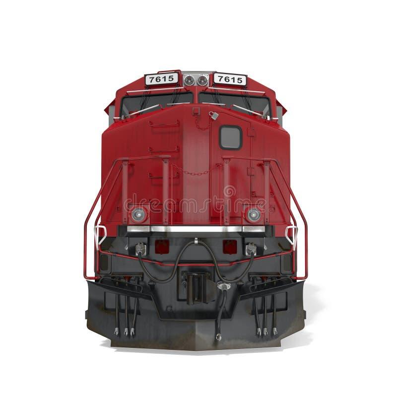 Locomotiva diesel su bianco Front View illustrazione 3D royalty illustrazione gratis