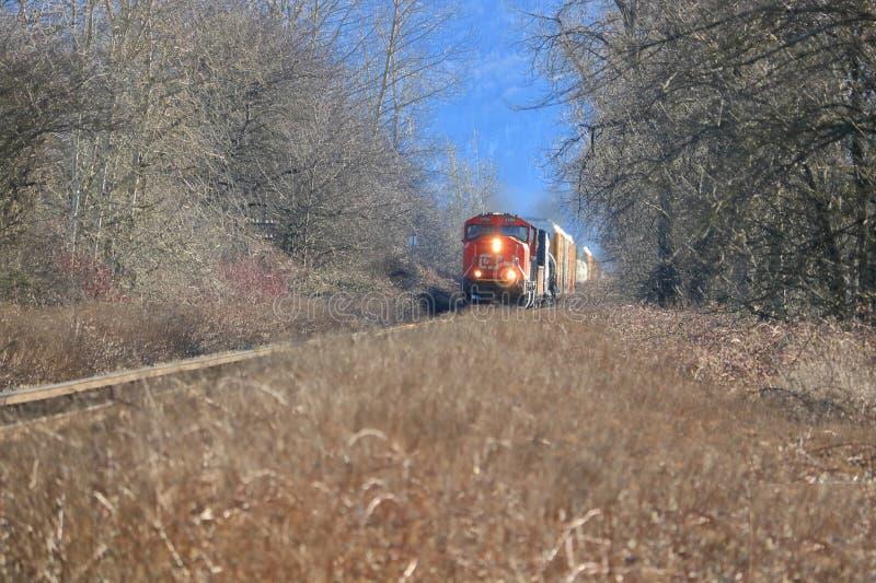 Locomotiva e faróis nacionais canadenses fotografia de stock royalty free