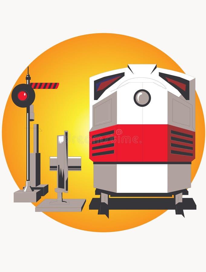 Locomotiva e semaforo immagine stock