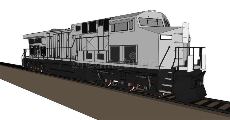 Locomotiva ferroviaria diesel moderna con gran potenza e forza per muovere il treno di ferrovia lungo e pesante Illustrazione di  illustrazione vettoriale