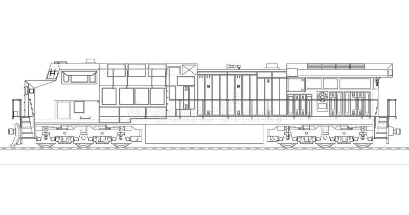Locomotiva ferroviaria diesel moderna con gran potenza e forza per muovere il treno di ferrovia lungo e pesante Illustrazione di  illustrazione di stock