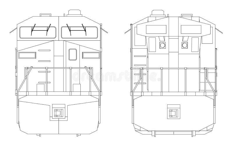 Locomotiva ferroviaria diesel moderna con gran potenza e forza per muovere il treno di ferrovia lungo e pesante Illustrazione di  royalty illustrazione gratis