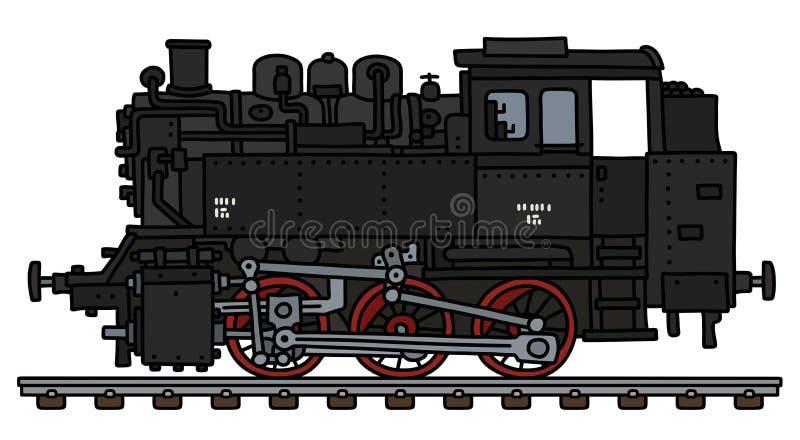 A locomotiva preta clássica do motor de tanque ilustração do vetor