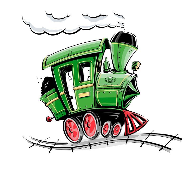 Locomotiva retro verde dos desenhos animados ilustração royalty free