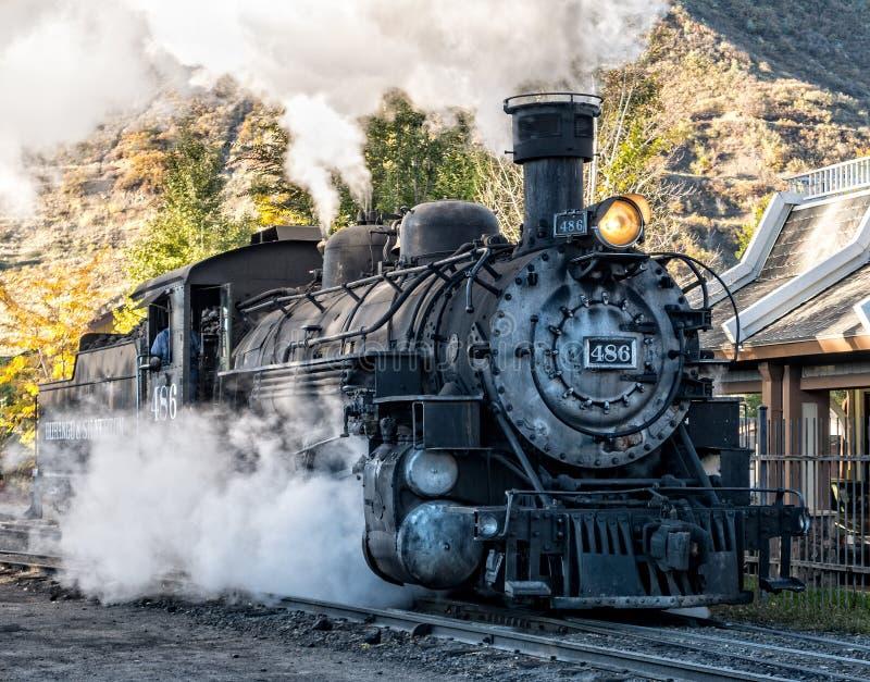 Locomotiva a vapore, Durango, Colorado immagine stock libera da diritti