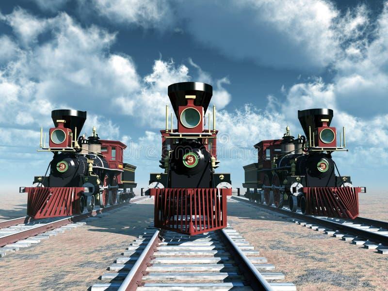 Locomotivas de vapor americanas dos 1850s ilustração royalty free