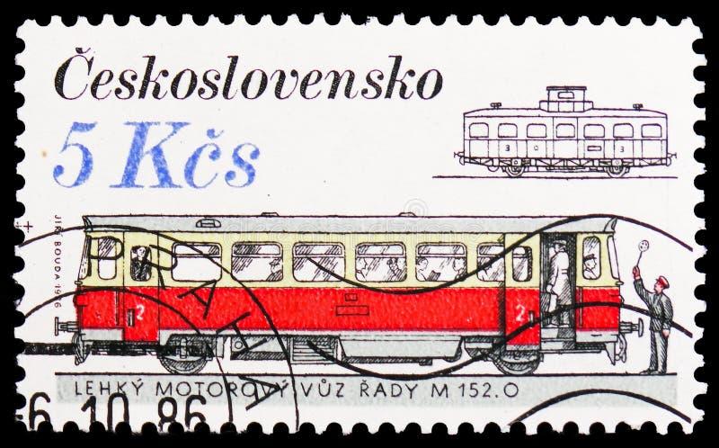 Locomotivas e elétricos - M 152 0, serie do estoque de rolamento de Checoslováquia, cerca de 1986 fotografia de stock