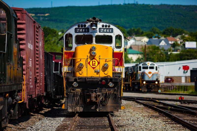 Locomotivas no local histórico nacional de Steamtown imagens de stock royalty free