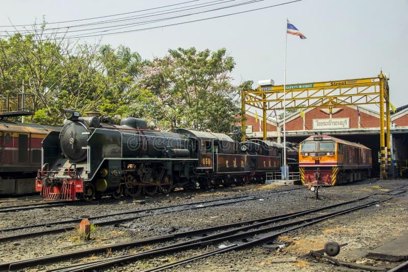 Locomotive à vapeur locomotive de stockage et de réparation d'endroit de dépôt de THON-BURI de la Thaïlande image libre de droits