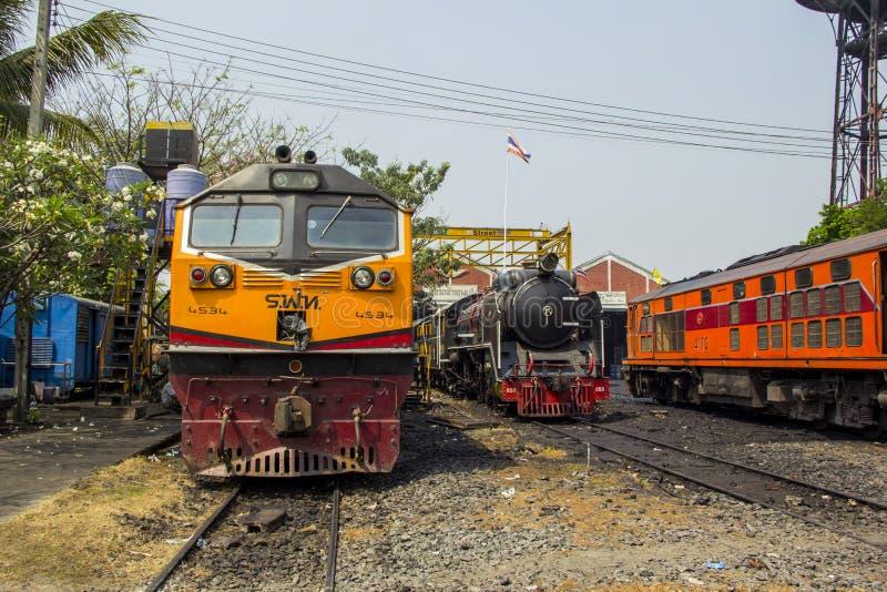 Locomotive à vapeur locomotive de stockage et de réparation d'endroit de dépôt de THON-BURI de la Thaïlande photographie stock