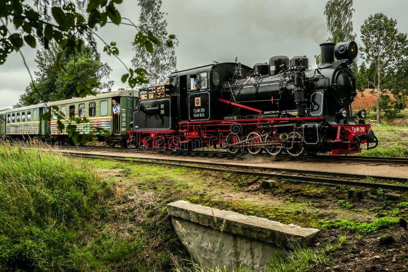 Locomotive à vapeur ferroviaire à voie étroite conduisant au-dessus d'un pont avec des passangers photos stock