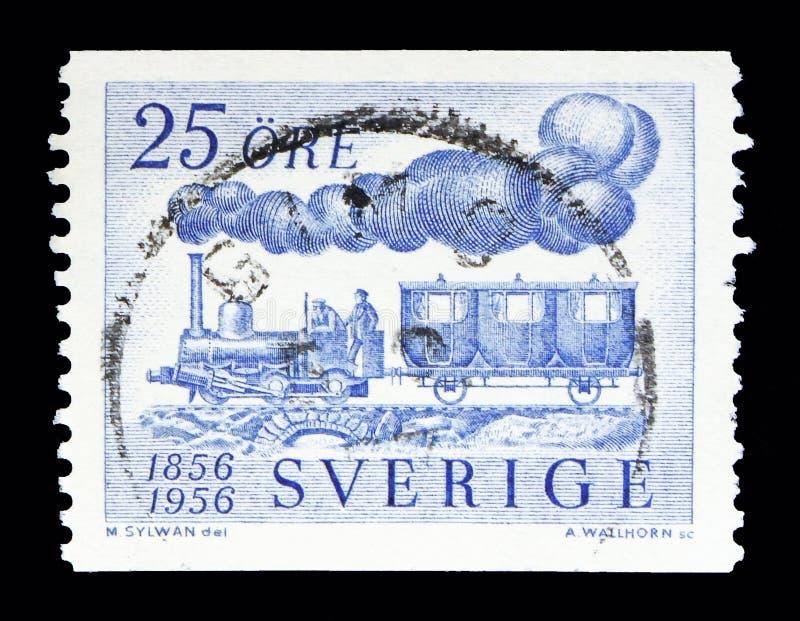 Locomotive à vapeur, Fryckstad et chariot de passager, centenaire de illustration stock