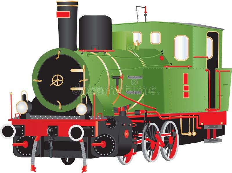 Locomotive à vapeur verte de vintage illustration de vecteur