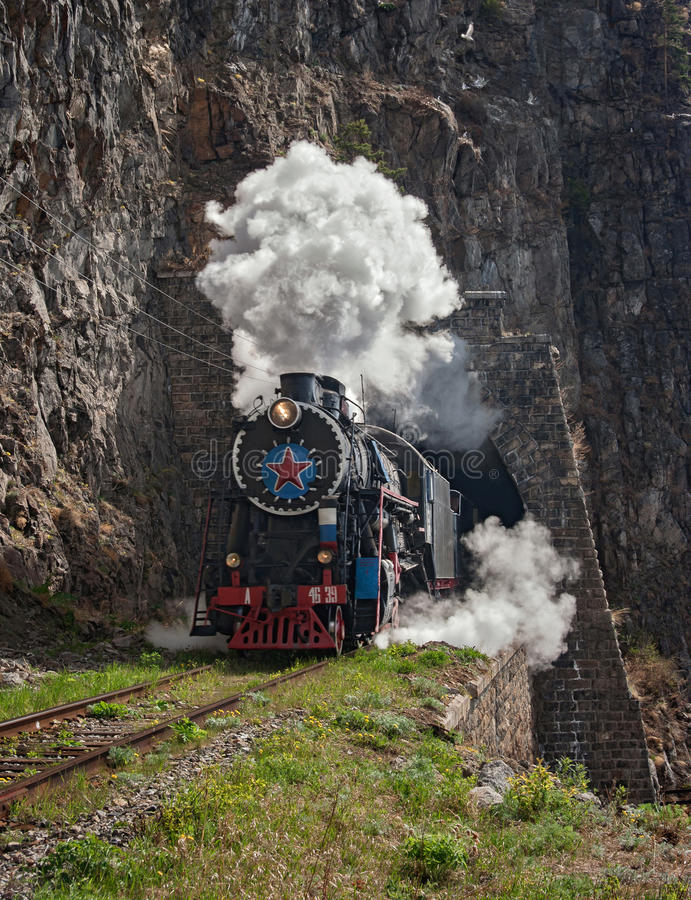 Locomotive on Circum-Baikal railway royalty free stock images