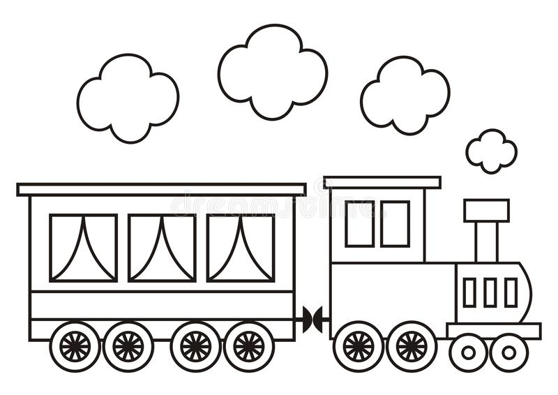 Locomotive, coloring book stock vector. Illustration of outline ...