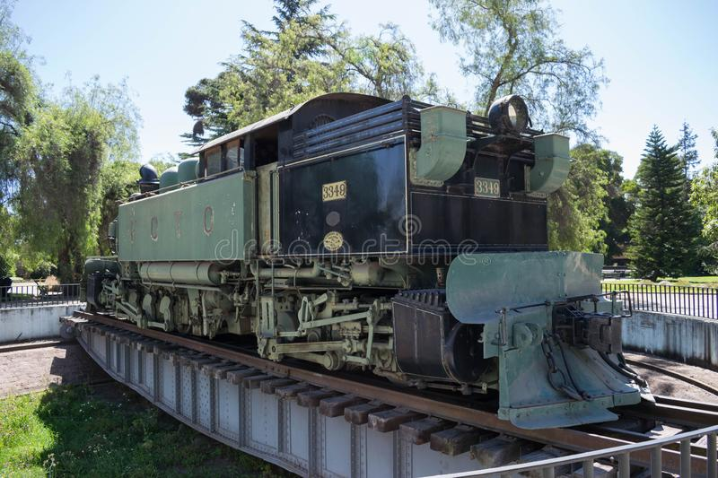 Locomotive on display at the Railway Museum of Chile stock image