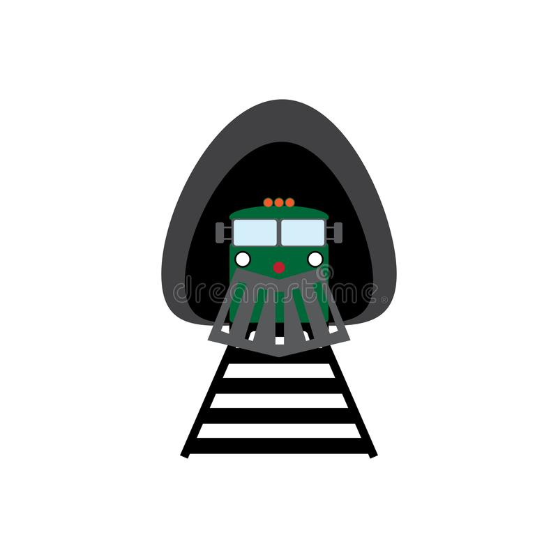 Locomotive leaving the tunnel. Train icon. View front. Vector illustration. vector illustration