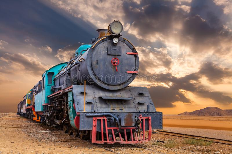 Locomotive train in Wadi Rum desert, Jordan.  stock photography