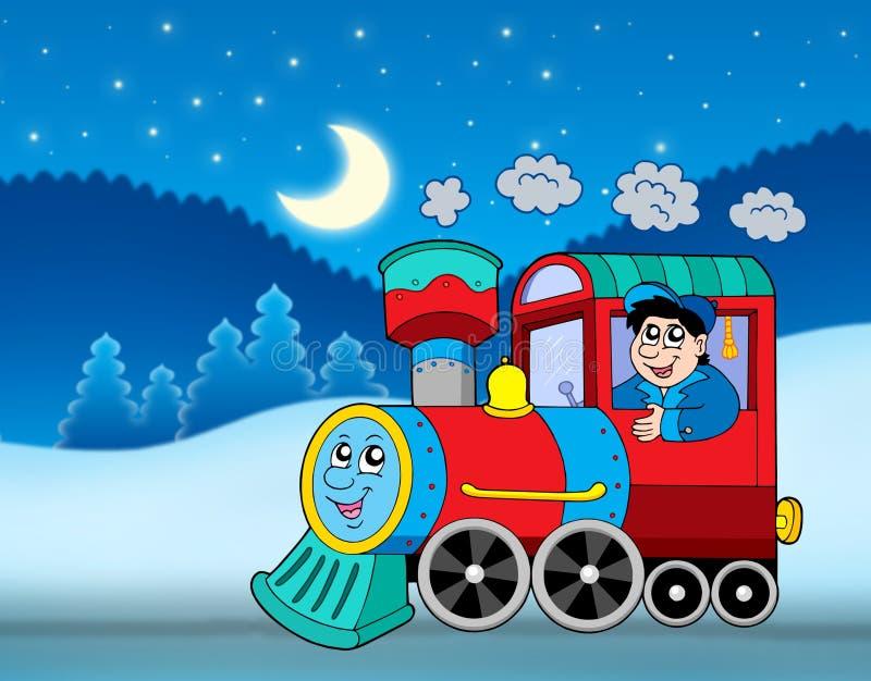 Locomotive in winter landscape stock illustration